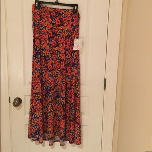 LULAROE Maxi Skirt Brilliant Floral Small NEW
